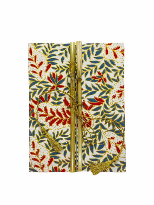 JAIPUR HAND MADE NOTE BOOK ( BAMBOO RED GRAY LEAFS ON WHITE )