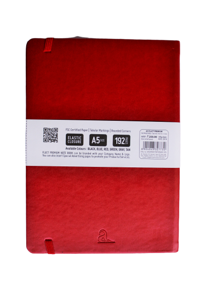Fluct Notebook by Anupam With Elastic Closure Red A5 192 pages (Plain pages)