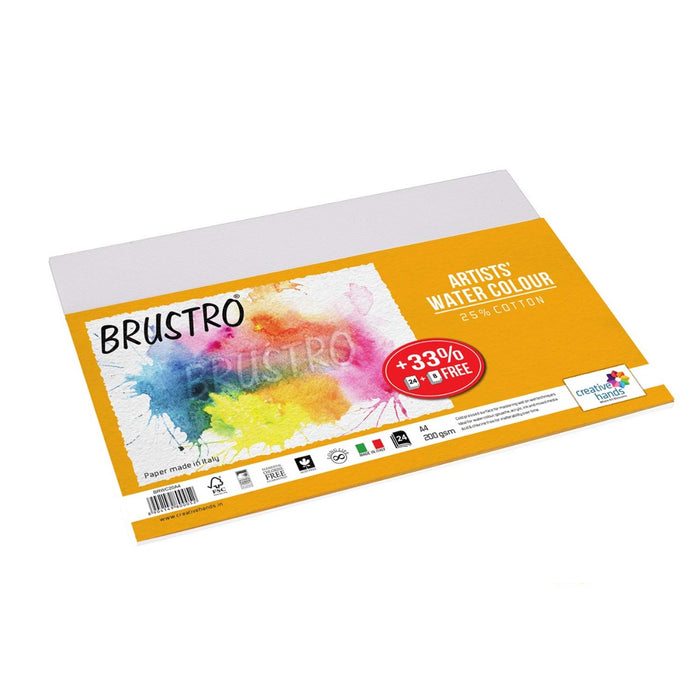 Brustro Artists Watercolour Paper, A4 Size, 200 GSM, 25% Cotton CP, 12 + 4 Sheets Free
