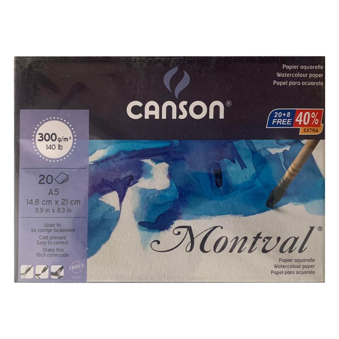 Canson Montval 300 GSM A5 Pad of 20 FINE GRAIN SHEETS
