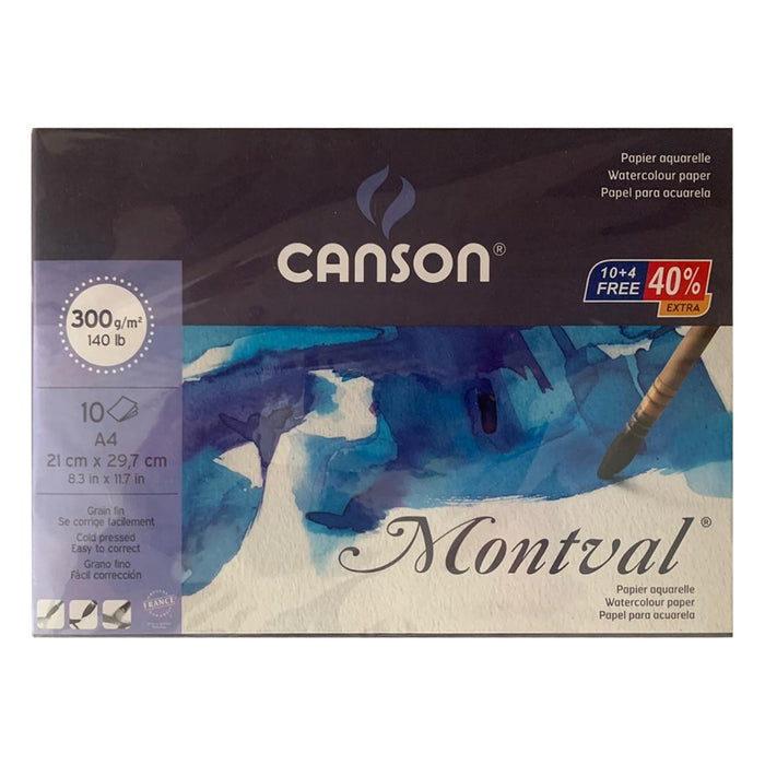 Canson Montval 300 GSM A4 Pad of 10 Fine Grain Sheets