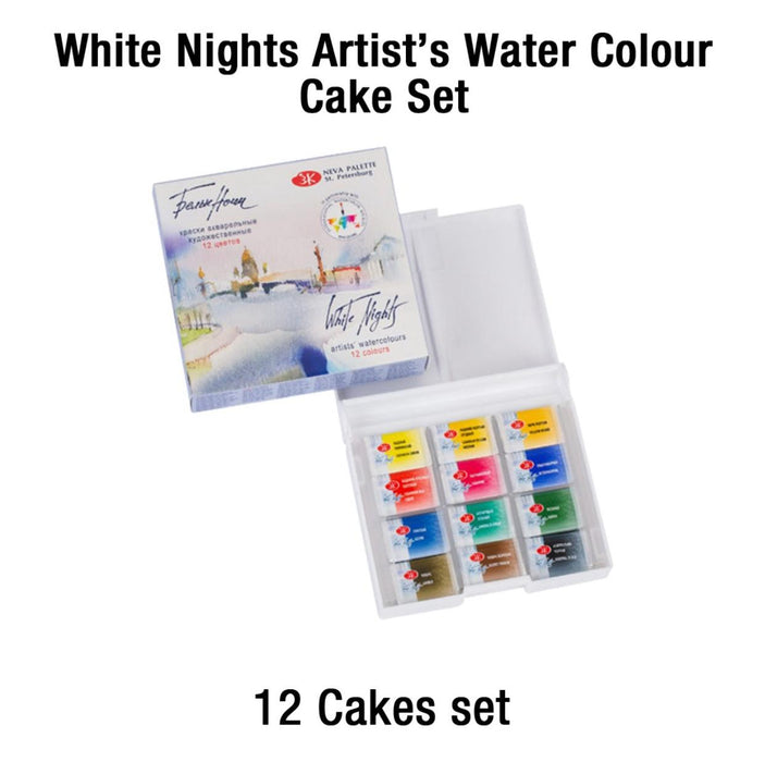 White night watercolor cubes set of 12
