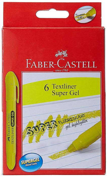 Faber-Castell Super Gel Textliner - Pack of 6 (Yellow)