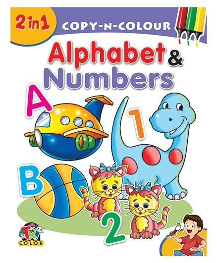 Tricolor 2 in 1 Alphabets & Numbers Color Book for Kids (Pack of 2)