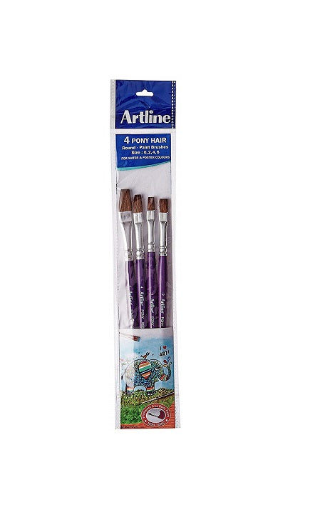 Artline Round Pony Paint Brush pack of 4- (Size 0,2,4 &6)