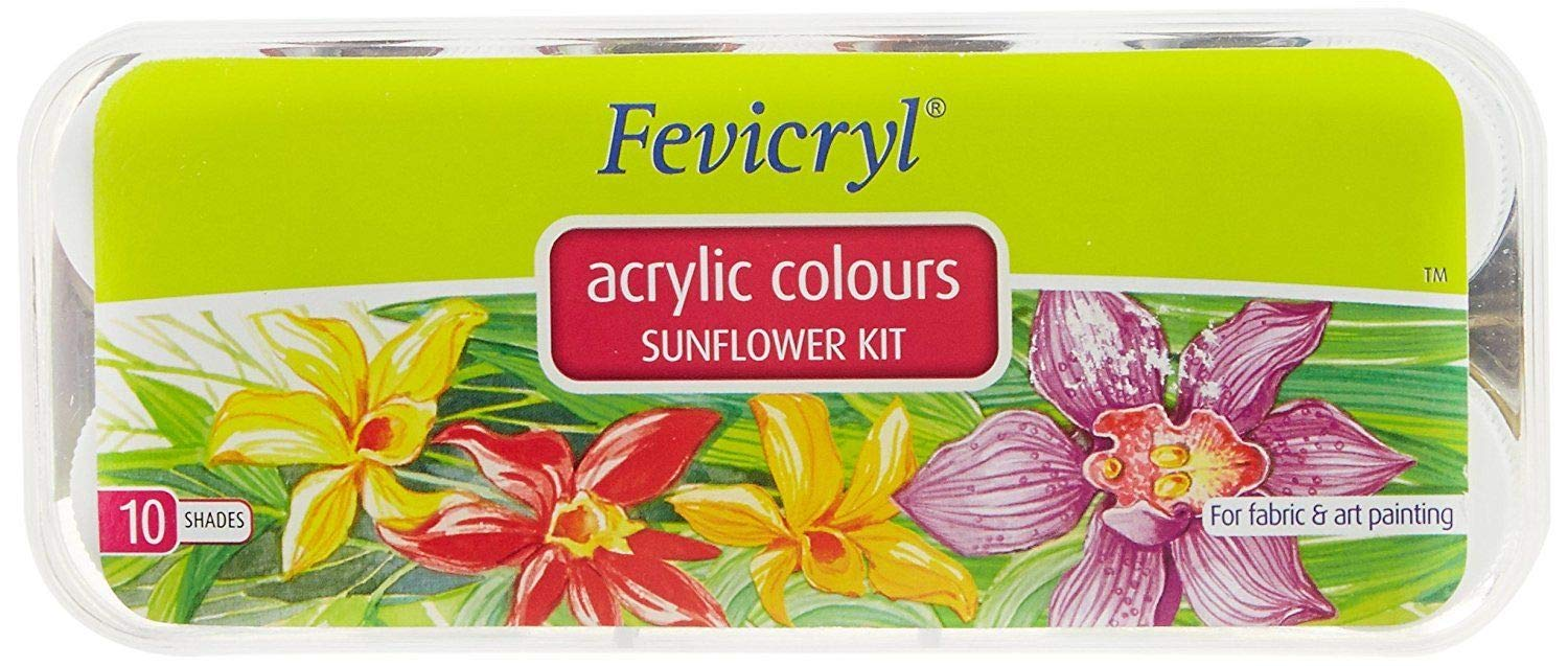 Fevicryl Acrylic colors, Sunflower Kit, 10 shades