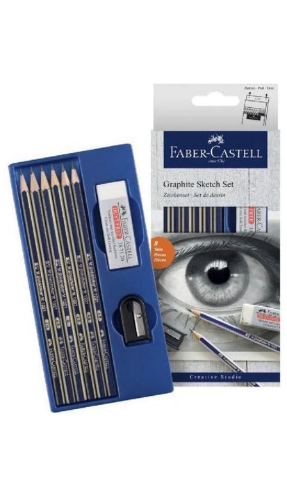 Faber-Castell Graphite Sketch Pencil with Sharpener and Eraser 6 Pencils with Sharpener and Eraser