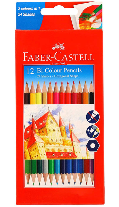 Faber-Castell Bi-Color Pencil Set - Pack of 12 (Assorted)