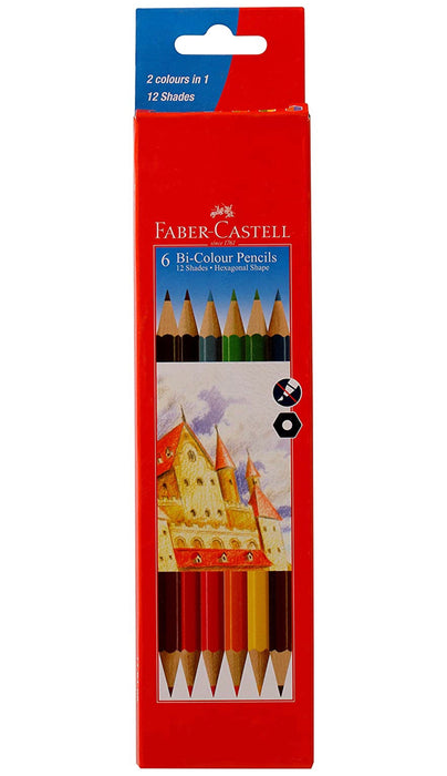 Faber-Castell Bi-Color Pencil Set - Pack of 6 (Assorted)