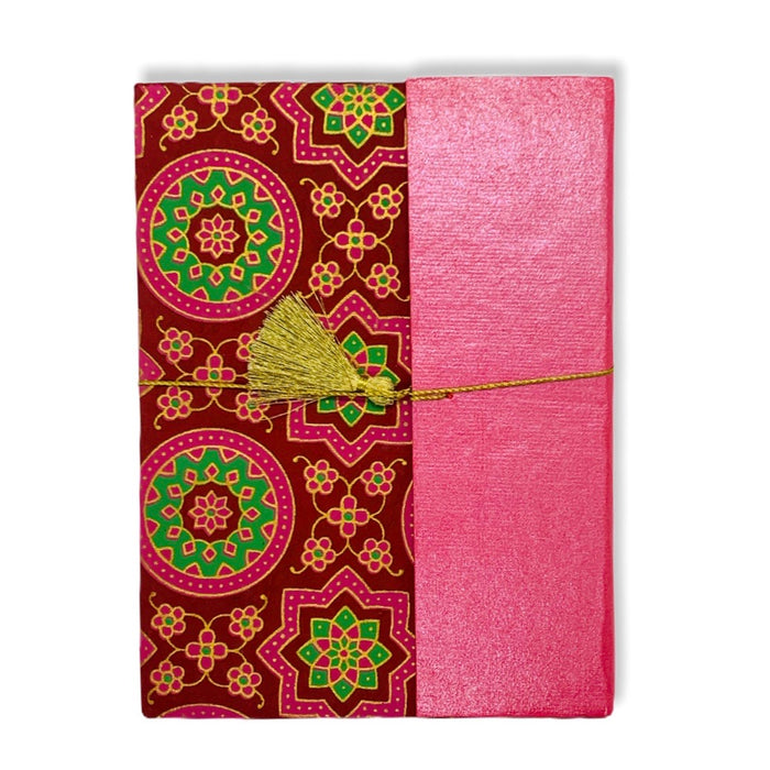 JAIPUR HAND MADE NOTE BOOK ( HALF CURTAIN MOROCCON RED )