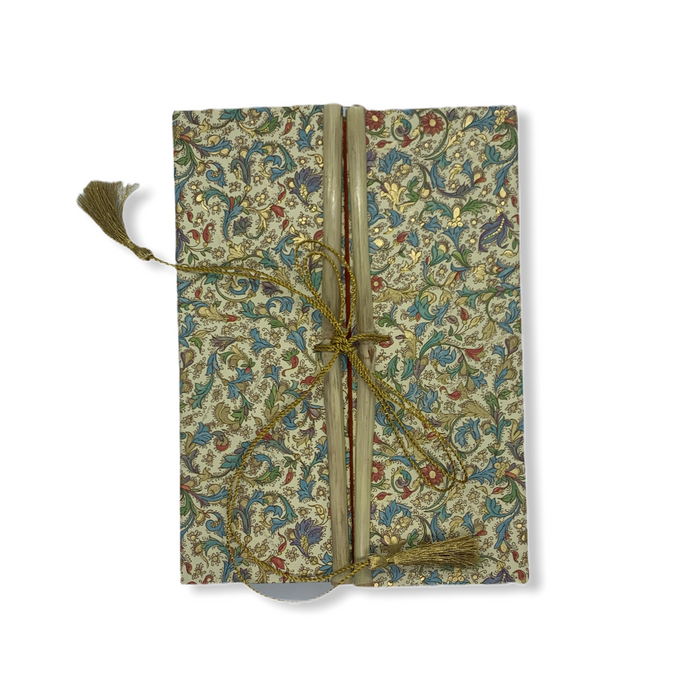 JAIPUR HAND MADE NOTE BOOK (BAMBOO GOLDEN BLUE GREEN LEAFS )