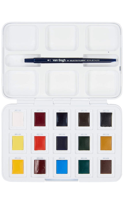 Vangogh Pack Of 12 Watercolors + 3 Pocket Box + Brush # 6 - Water Color Box Hp8631+3 - Artist Portable Watercolour Set Of 15 Colors