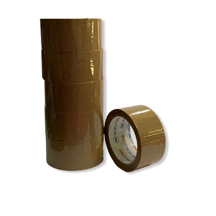Worldone Brown Tape 2 inch ( Pack of 6 )
