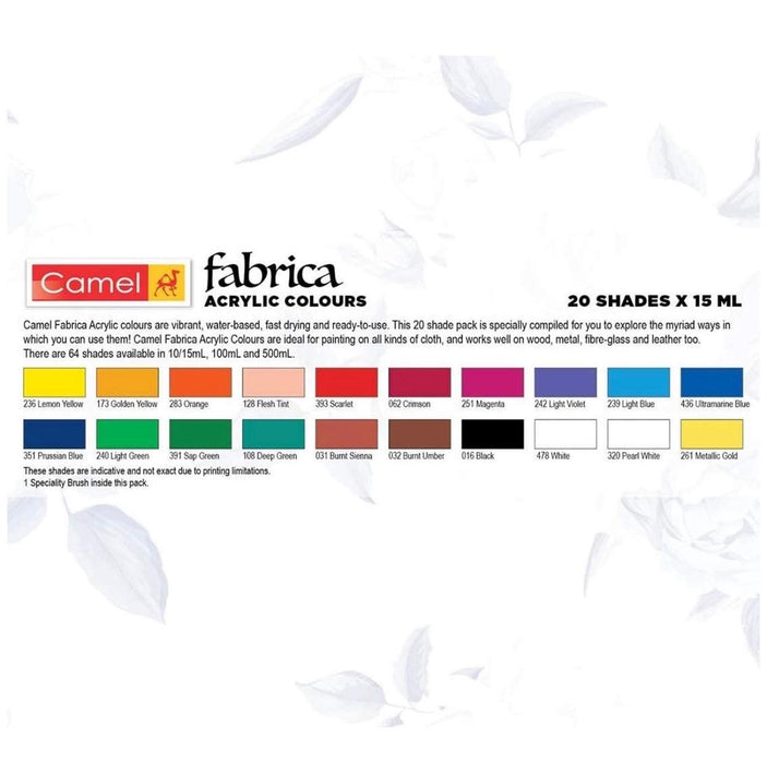 Camel Fabrica Acrylic Colours ( 20 Assorted Shades 15ml )
