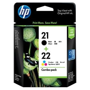 HP 21 BLACK & 22 COLOUR COMBO CARTRIDGE