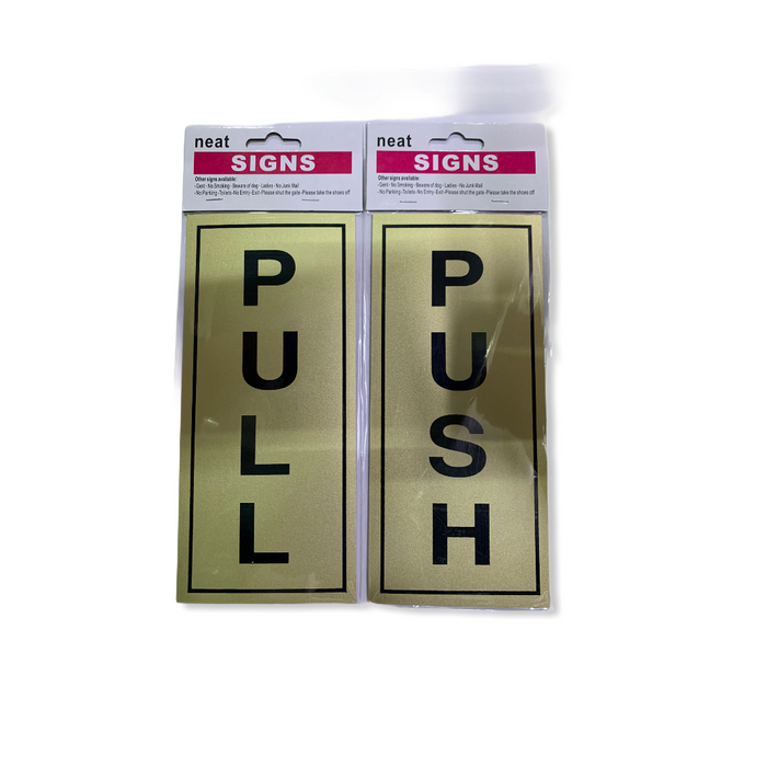 PULL PUSH DOOR STICKERS ( GOLD )