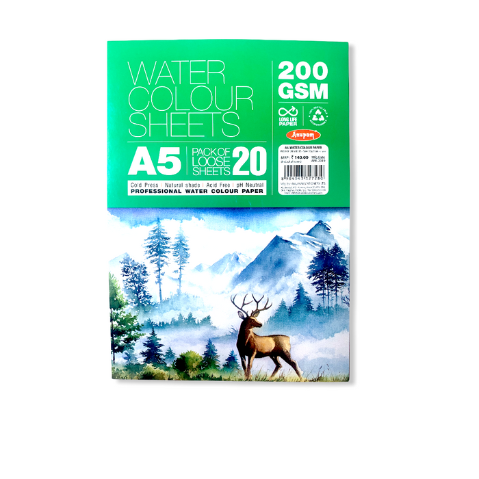 Anupam Water Colour Sheets A5 200GSM (Pack of 20 Sheets)