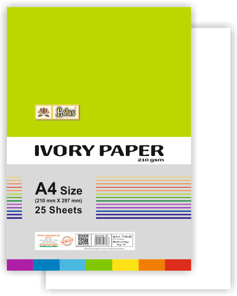 Lotus Ivory Paper (210 gsm) 25 colored sheets