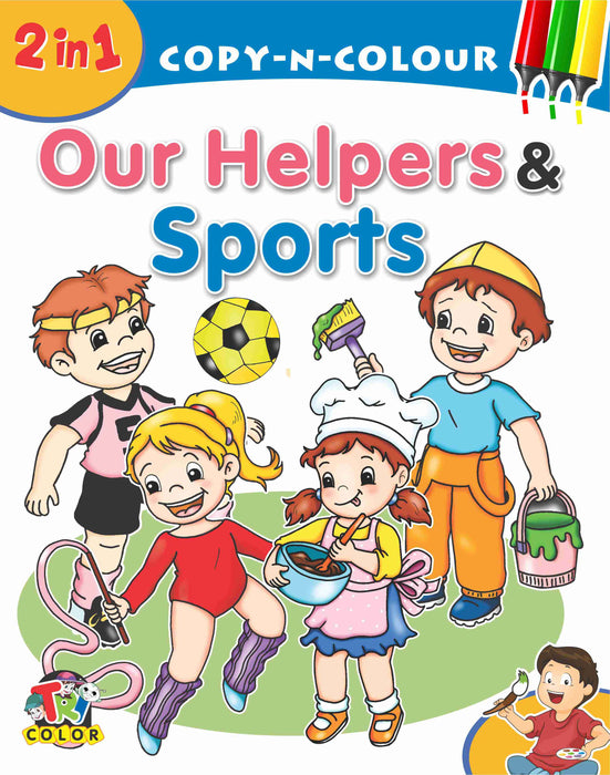 Tricolor 2 in 1 Our Helpers & Sports Color Book for Kids (Pack of 2)