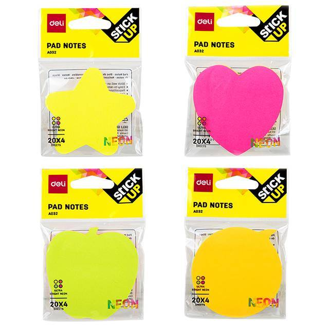Deli stick up pad notes- Pack of 4 (assorted shapes)