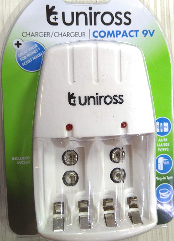 Uniross Compact 9V/AA/AAA Charger (Multi-functional)