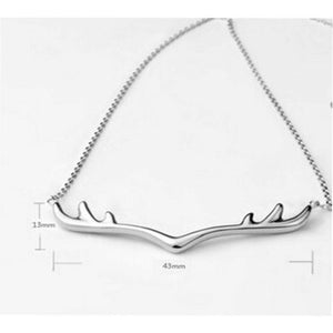Fashion Christmas Antler Pendant Charm Chain 925 Sterling Necklace