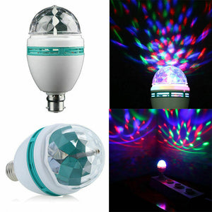3W RGB Crystal Ball Auto Rotating LED Stage Light Bulb Disco Party Lamp E27 B22