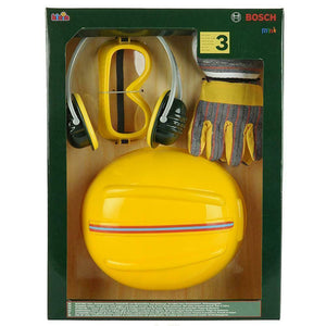 Childs Toy Bosch Helmet Earmuffs and Tool Pretend Playset Safety Kit Kids Toys
