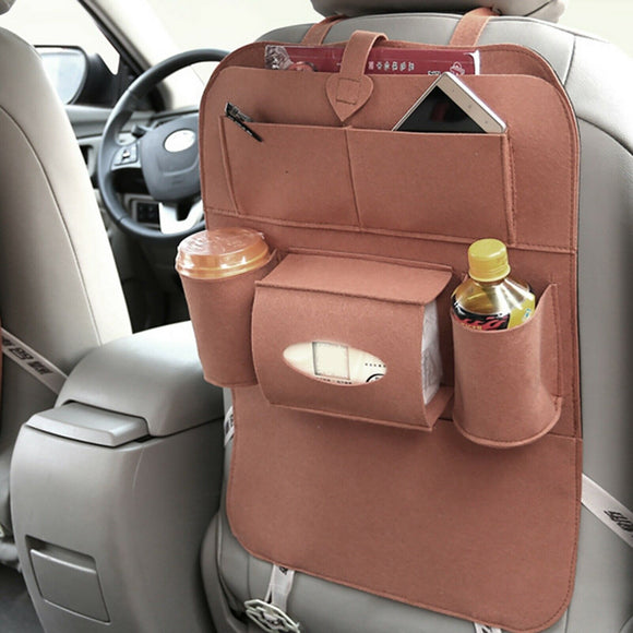 Car Back Seat Storage Organizer Multi Pocket Tissue Holder BRW
