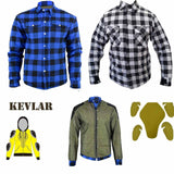 Men's Motorcycle Reinforced Flannel Biker Shirt Made With DuPont™ Kevlar® QQ