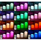 3x LED Battery Operated Flickering Real Wax Pillar Candle Ivory Flameless Wed...