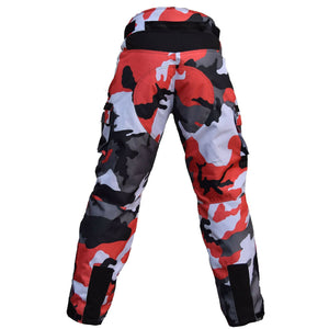 Cordura Motorcycle Camo Red Pants Cargo Style 100% Waterproof CE Approved Armor