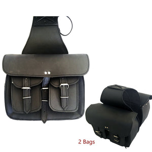 New Leather Motorcycle Cruiser Dual Pocket Saddle Bag saddlebag Luggage Pair