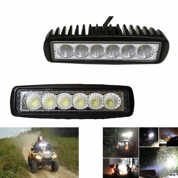 Latest 2x 6inch 18W LED Light Bar Driving Work Lamp Flood Truck Offroad UTE