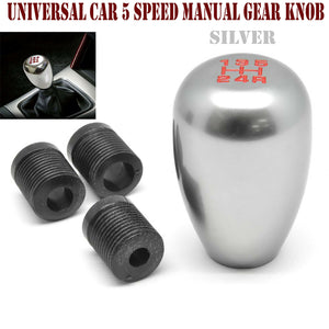 Silver Shift Knob Universal 5 Speed Manual Car Gear Lever Shifter Stick Aluminum