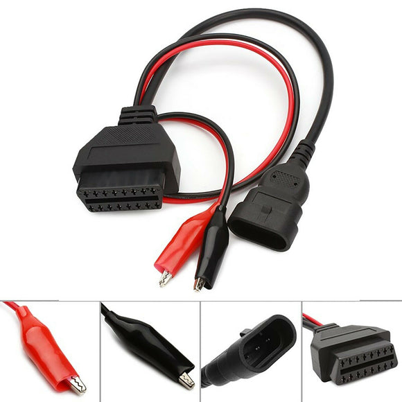 Latest 16Pin to 3Pin Female OBDII Diagnostic Connector 2 Clip Cable for Fiat