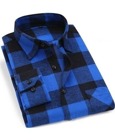 New Mens Stylish Cotton Flannel Comfortable Dress Shirts Red Check Print Blue