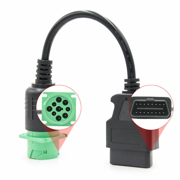 9 Pin Male to 16 Pin Female OBD II Adapter Diagnostic Cable for Diesel Truck AU