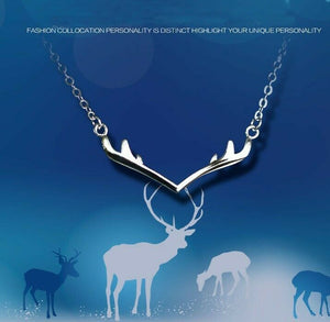 Fashion Christmas Antler Pendant Charm Chain 925 Sterling Silver Necklace Silver