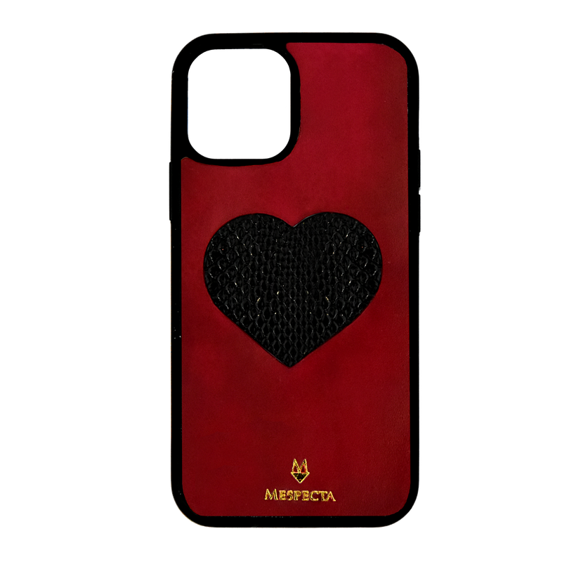 Cover Iphone 12/ 11/ XR in pelle Fucsia e Cuore di Pitone Nero
