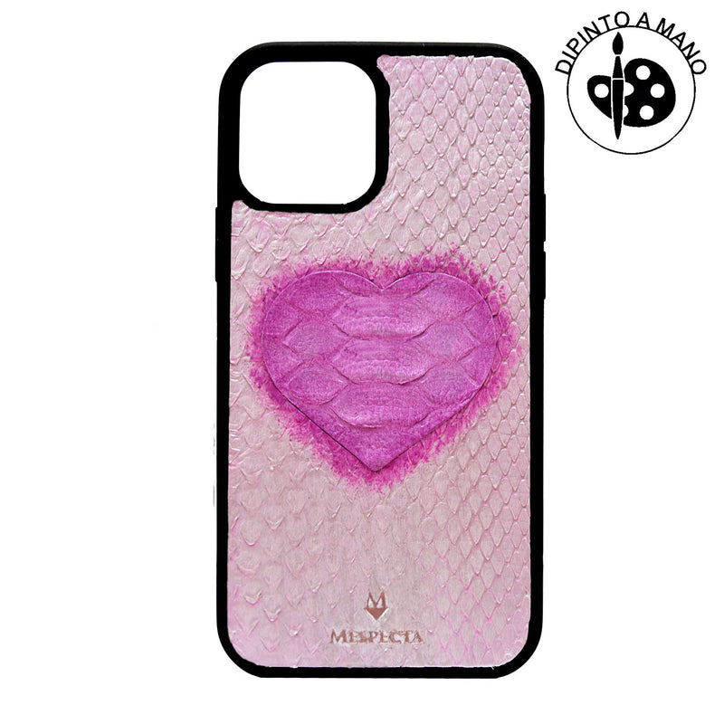 Cover Iphone 12/ 11/ XR in Pitone Rosa Metallizzato e Cuore Rosa