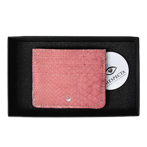 Pink Python leather card holder