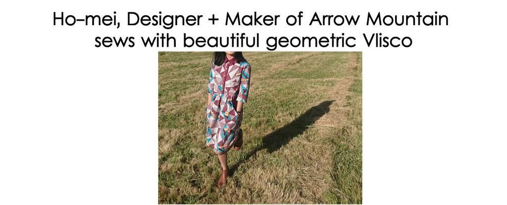 Ho-mei, Designer + Maker of Arrow Mountain  sews with beautiful geometric Vlisco