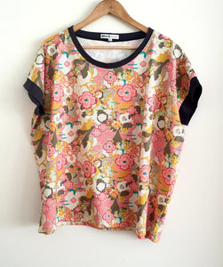 Lounge Tee: Flowers with Charcoal Trims