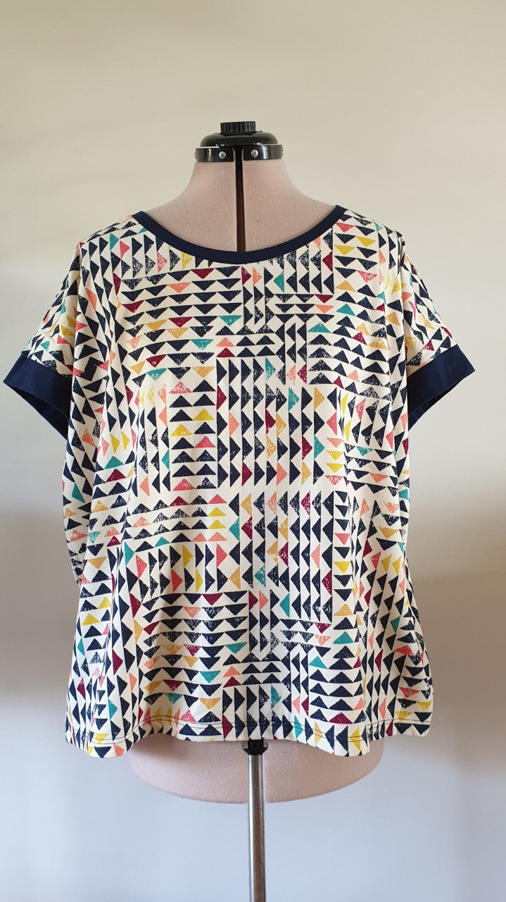 Lounge Tee: Mosaic with Navy Trims
