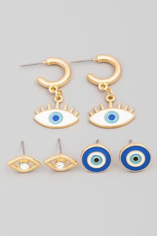 Evil Eye Earrings Set