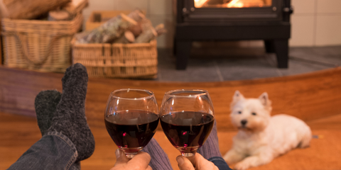 Tabitha Eve Sustainable Valentines Day Glasses of Wine by the fireplace with dog