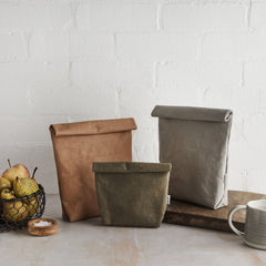 Tabitha Eve Zero-Waste Eco-Friendly Reusable Handmade Vegan Leather Lunch Snack Food Bags