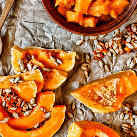 prepared squash and seeds
