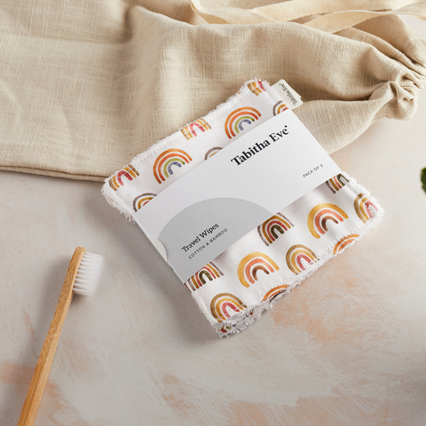 Tabitha Eve Reusable Plastic Free Zero Waste Eco Friendly Cotton and Bamboo Biodegradable Travel Wipes